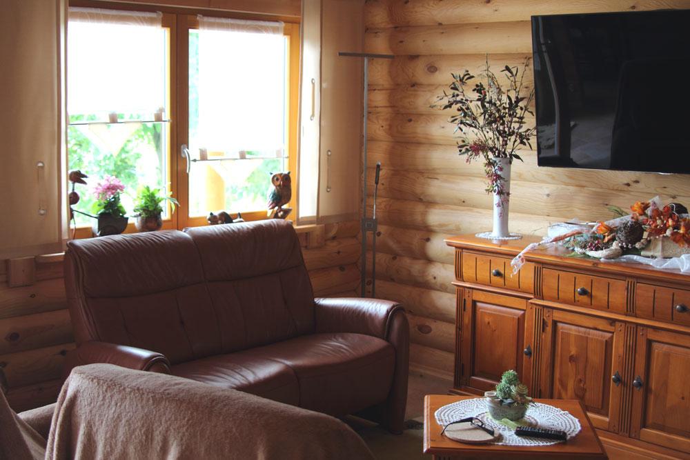 Wohnzimmer im Rundstammhaus